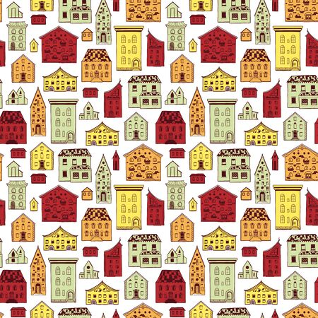 Seamless Pattern Color Houses-03