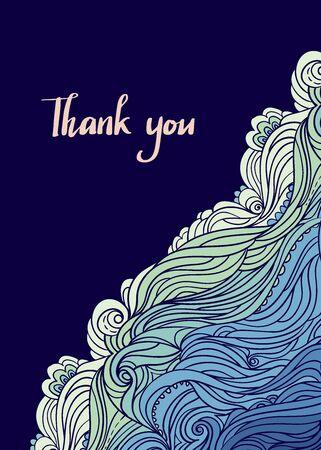 Sea Wave Hand Drawn Vertical Frame Ilustracja