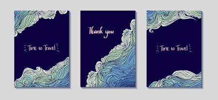 Sea Waves Three Frames Diagonal Set Ilustracja