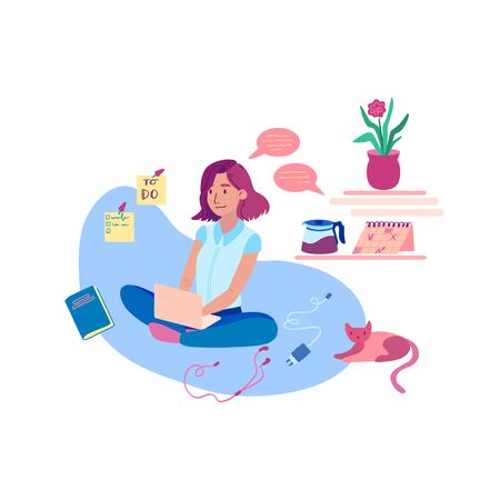 Self-Employed Girl Works at Home-01