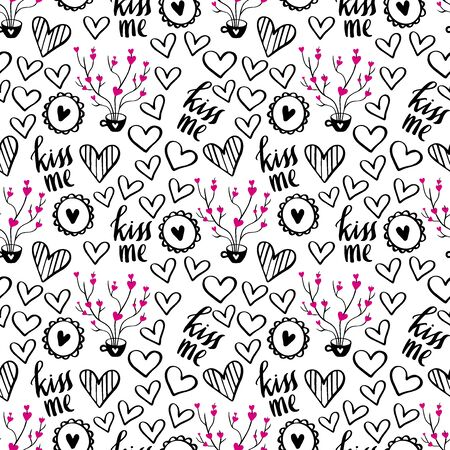 Romantic Doodle Pattern with Hearts-01