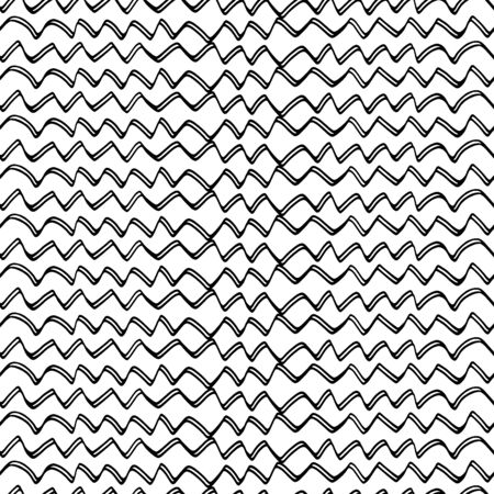 Vector seamless pattern. Repeating geometric zigzag. Uneven hand-drawn lines in vector. EPS 8 Ilustracja