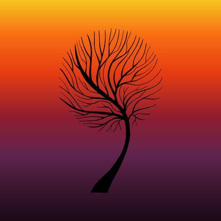 Elegant silhouette vector Tree. Sun rise, sundown background. EPS 10 Ilustracja