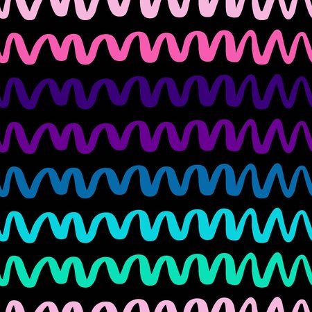 Vector seamless pattern with wavy zigzag. Repeating uneven lines. Waves background in vector for your design. EPS 8