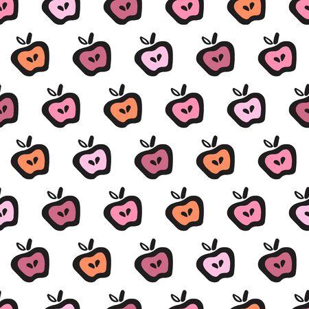 Apple Fun Doodle Seamless Pattern Easy-05