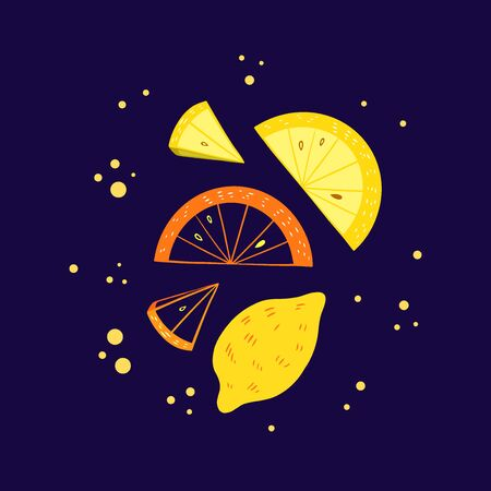 Lemon and orange slice vector illustration. Citrus fruit poster in colorful cartoon style. Juicy tasty appetizing pre-made card. Fruit composition for food design.