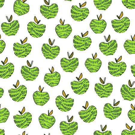 Green apple seamless pattern. Hand drawn abstract apples fruit. Cute doodle background for kitchen and food design. Ilustracja