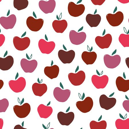 Red apple seamless pattern. Hand drawn abstract apples fruit. Cute doodle background for kitchen and food design. Ilustracja