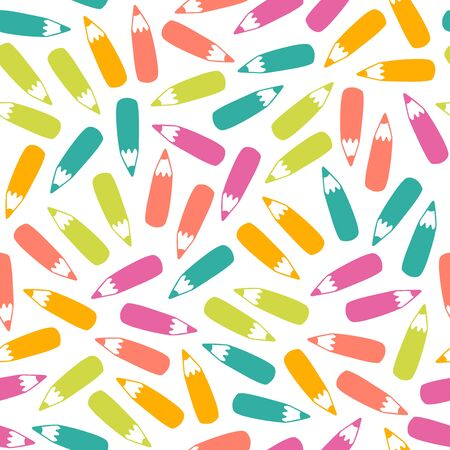 Seamless pencil pattern in vector. Hand drawn colorful illustration with stationery. Doodle endless background with color pencils. School, office and creativity concept. EPS 8