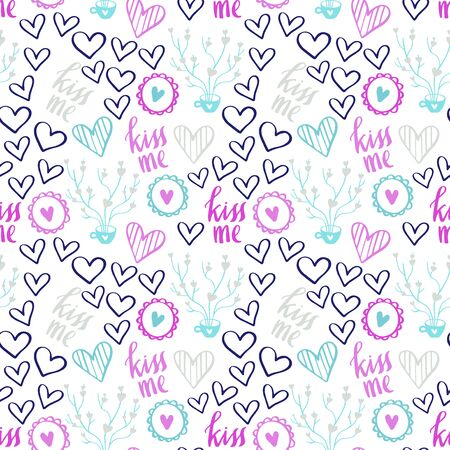 Romantic Doodle Pattern with Hearts-02