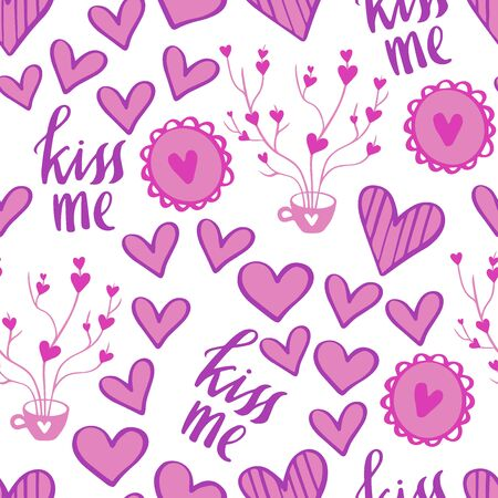 Romantic Doodle Pattern with Hearts-03
