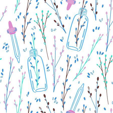 Elegant Twigs Natural Cosmetic Pattern-05 Ilustracja