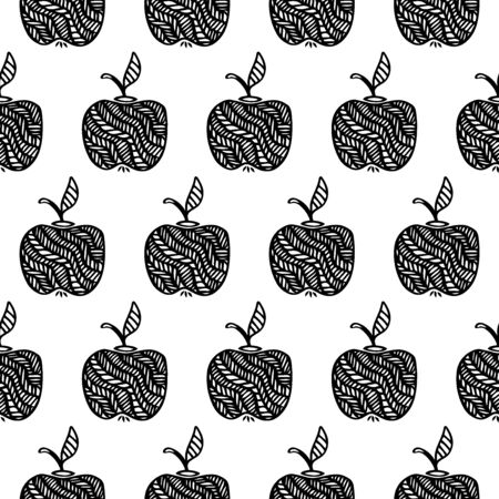 Hand Drawn Simple Seamless Pattern with Apples-06