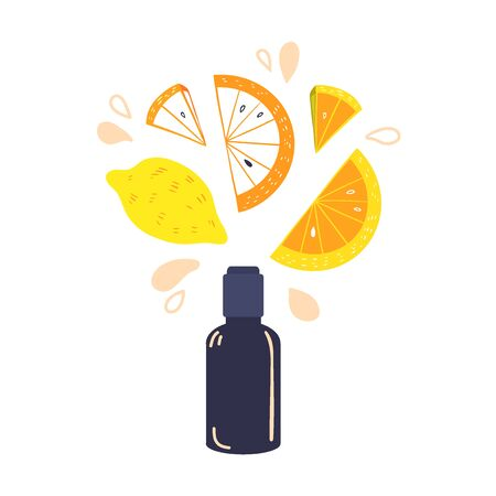 Natural Homemade Citrus Cosmetics. Vial and lemon slices vector illustration. Hand made beauty products with lemon fruit. Cosmetic made at home concept.