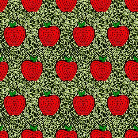 Apple Doodle Seamless Pattern Easy Ilustracja