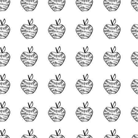 Apple Fun Doodle Seamless Pattern Easy