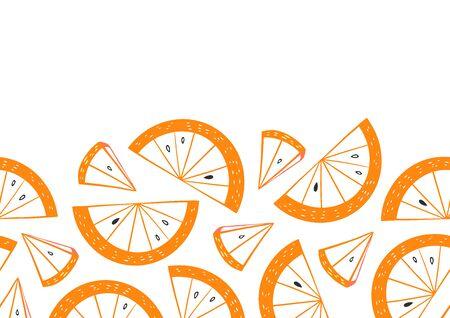 Doodle Orange Slice Horizontal Frame Ilustracja