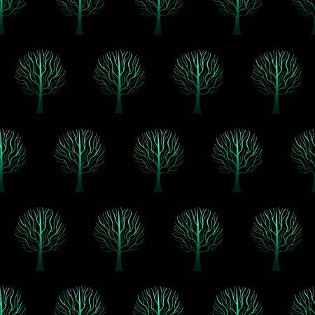 Trees Pattern Gradient Hand Drawn-07 Illustration