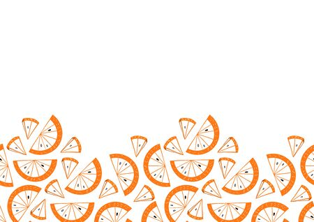 Slices of orange seamless frame. Citrus fruit border in colorful cartoon style. Juicy tasty appetizing illustration. Vector wallpaper for food design and textile.