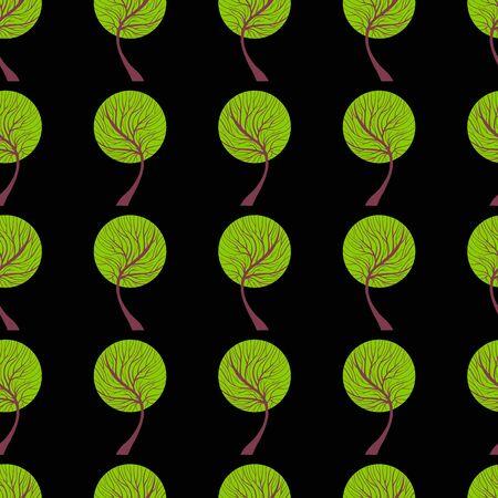 Seamless tree pattern. Dark hand drawn nature and ecology theme background. EPS 8