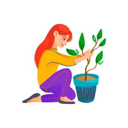 Illustration of a Kid Holding a Flower Pot