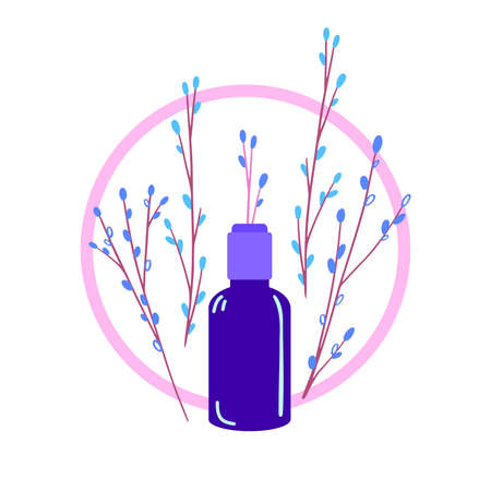 Natural Cosmetics vector illustration. Dark glass vial with little twig sticking out of it. Handmade organic cosmetic for skin. Hand made beauty products with herbs design.