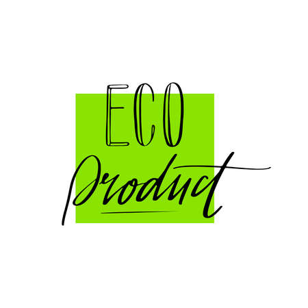 Vector square Eco Product sign. Organic and bio products concept. Healthy food illustration for cafe, restaurant badges, tags, packaging etc.