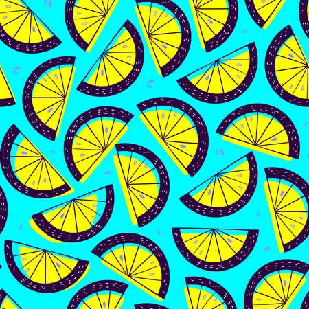 Lemon slice seamless pattern. Citrus fruit turquoise background in colorful cartoon style. Juicy tasty appetizing illustration. Fresh up lemonade concept. Summer wallpaper. Vector Illustratie
