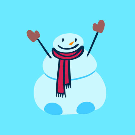 Vector flat snowman with scarf and mittens on blue background. Holiday blue illustration.