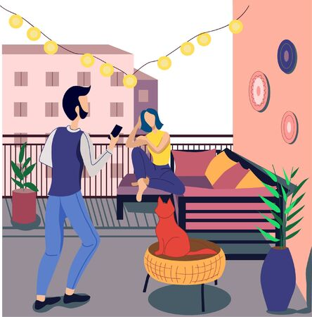 Man and woman on the balcony. Home furnishings, beautiful interior. Vacation concept on the balcony. Flat vector illustration.