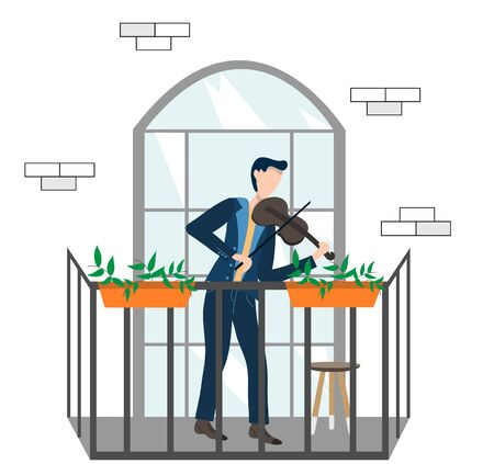 A man plays the violin. Man with a violin on the balcony. Vacation concept on the balcony. Flat vector illustration.