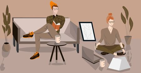 Family Spending Time at Home. Busy men Sitting on Sofa in Living Room. Woman sitting on the floor and working on a laptop. Vector Flat Illustration