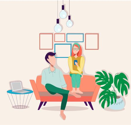 People on sofa flat vector illustration. Friendship, coziness, domestic atmosphere concept. Family rest, relaxation on couch. Man and women cartoon characters. Vettoriali