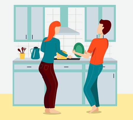 Young Couple Washing Crockery Vector Illustration. Husband and Wife in wash dishes .Cartoon Characters. Housekeeping, Family Domestic Chores