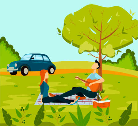 Married couple picnic in the park. Summer picnic. Beautiful nature. Picnic in the country