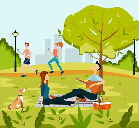 Vector illustration of Green city park on suburban. People relaxing in nature in a beautiful urban park, city skyline on the background. Married couple on a picnic Çizim