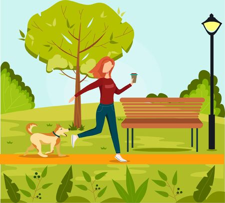 Girl walking with dog outdoors in park. Flat vector illustration. Woman walks with dog through the woods.