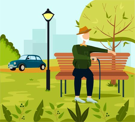Elderly man in the park. Elderly man sitting on a bench. Vector illustration in flat cartoon style.