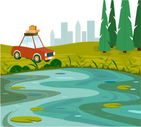 Beautiful landscape with a lake and mountains. Summer nature. Rest on the lake. Car by the lake. Car travel concept. Vector illustration