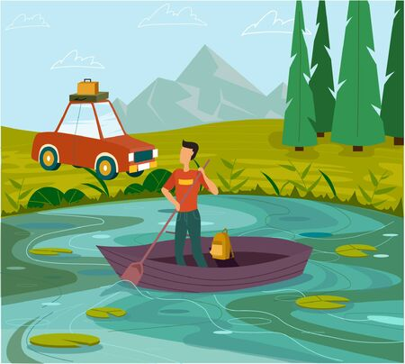 The concept of outdoor recreation, a man rowing on a boat. Beautiful landscape with a lake and mountains. Travel by car.