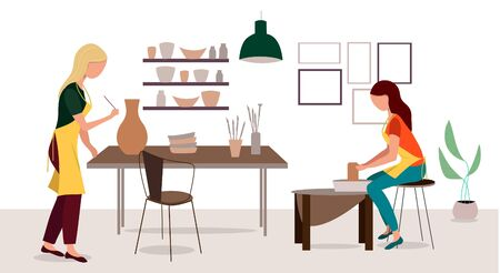 Pottery hobby. Handcrafted earthenware, people decorating pots and handicraft pottery workshop. Ceramic craft master, ceramics pottery artist or pot craftsman workshop flat vector illustration