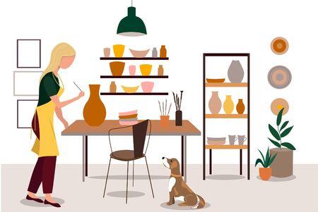 Girl decorating pots and handicraft pottery workshop. Ceramic craft master, pottery hobby. flat vector illustration