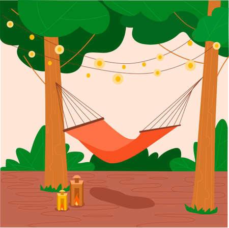 Hammock hanging between green trees. Flat hand drawn vector illustration. Summer rest concept.