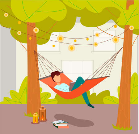 Man lying in a hammock and reading book. Hammock hanging between green trees. Flat hand drawn vector illustration. Summer rest concept.