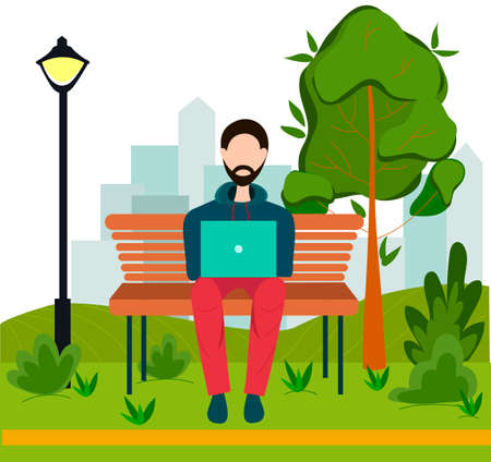 Man with laptop sitting on bench in summer. Cute illustration in flat style. Man with laptop sitting in Park. 免版税图像 - 151126128
