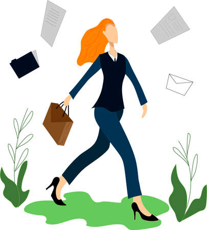 businesswoman and office. Office employee at the workplace. Work at the laptop. Vector illustration in cartoon style