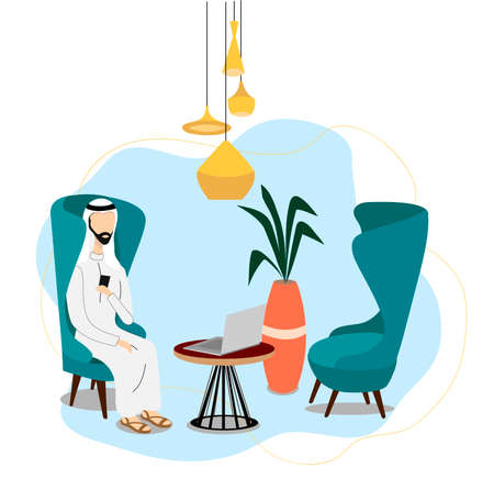 Cartoon Arab man sitting at the phone in office. Happy Muslim employee wearing white clothes working at home or office. Color vector illustration in flat style. 일러스트