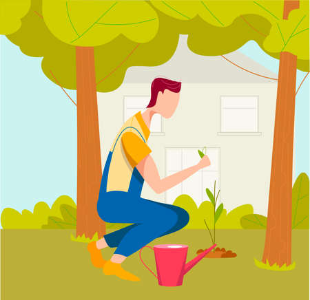 A man plants a plant. The gardener works in the garden. Agricultural work. Cartoon farmer characters working in field, harvesting crops