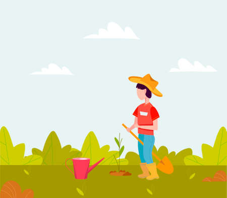 Little boy plants a plant. A child with a shovel plays in the garden. Flat vector illustration. Cartoon character of a little boy in a cowboy hat