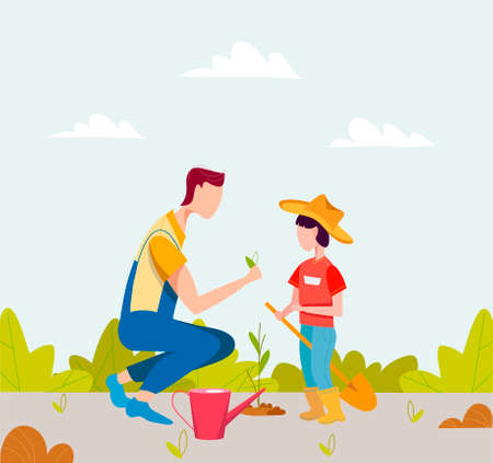Agricultural work. Cartoon farmer characters working in field. Father and son are planting plants. Garden work
